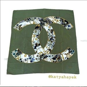 Chanel CC Logo Large Vintage Scarf